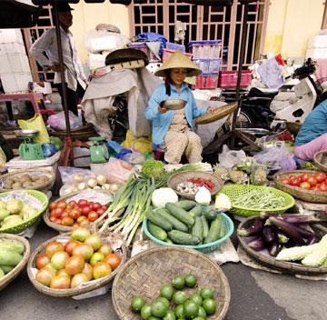 Einheimische Marktbesuche
